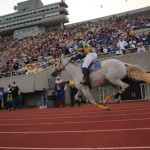Racer 1 sprints following a touchdown at Saturday's game against Tennessee State University.