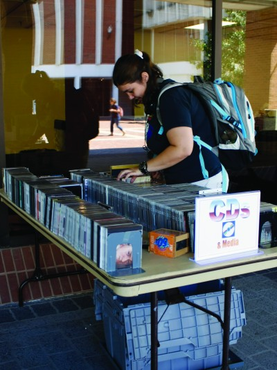 Old books, CDs, yearbooks and comics were available at the book sale this week. || Kristen Allen/The News