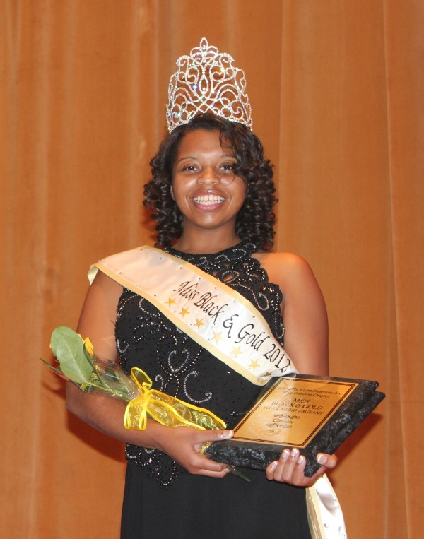 Katie MacAllister, senior from Murray, was crowned the winner of the 2012 Miss Black and Gold pageant last Friday. The event is hosted every year by the Alpha Phi Alpha Fraternity. || Maddie Mucci/The News