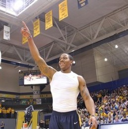 Senior guard Isaiah Canaan salutes the crowd during Racer Madness. Canaan was named OVC Preseason Player of the Year Tuesday morning at OVC Media Day.