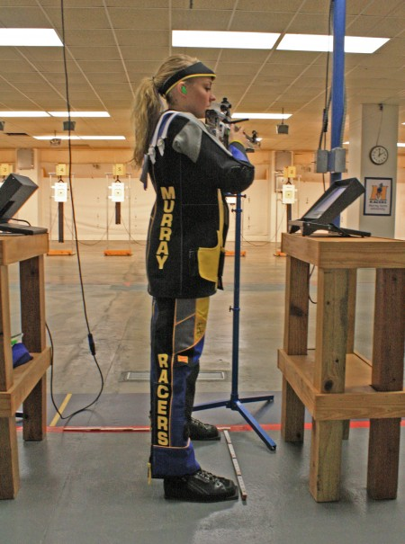Freshman Tessa Howlad from Ozark, Mo., practices her shot during the rifle team's open house. || Austin Ramsey/The News
