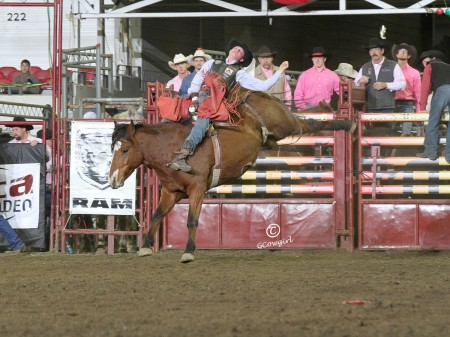 Senior Logan Corbett scored 244 points on three horses to win the average at the circuit finals. This is his third year competing in the PRCA.    Photo courtesy of Peggy Gander