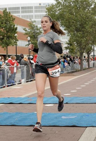 Brittlyn Sosh, senior from Evansville, Ind., ran in a marathon in Baton Rouge, La., last Saturday and won first place. This was her second time completing a marathon.  || Photo courtesy of Brittlyn Sosh