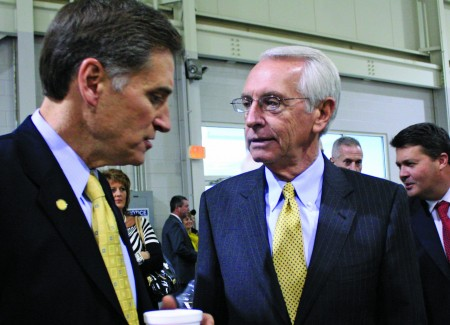 Gov. Steve Beshear, right, speaks with Murray State President Randy Dunn shortly before announcing Murray's newest international business investment. || Austin Ramsey/The News