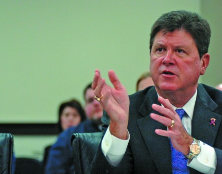House Speaker Greg Stumbo addresses members of the General Assembly on the issue of creating an additional public university in eastern Kentucky. || Associated Press