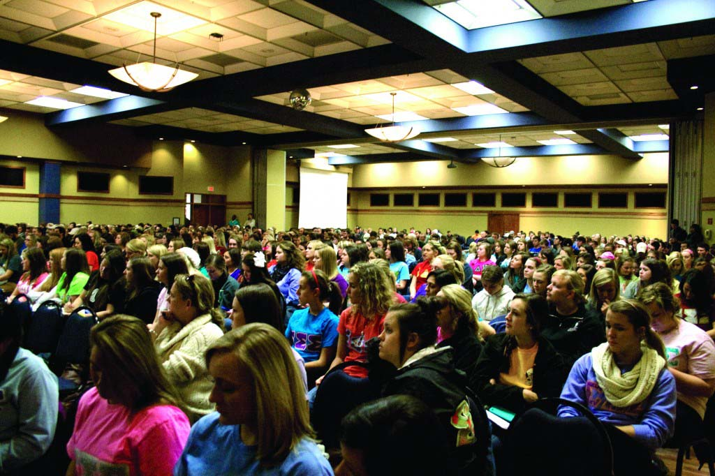 Murray State's Greek community listens to the national recruitment group, Phired Up Wednesday night in the Curris Center Ballroom.