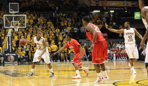 Senior Isaiah Canaan looks for a pass during last years match against Austin Peay. The Racers defeated the Governors 82-63.    File photo