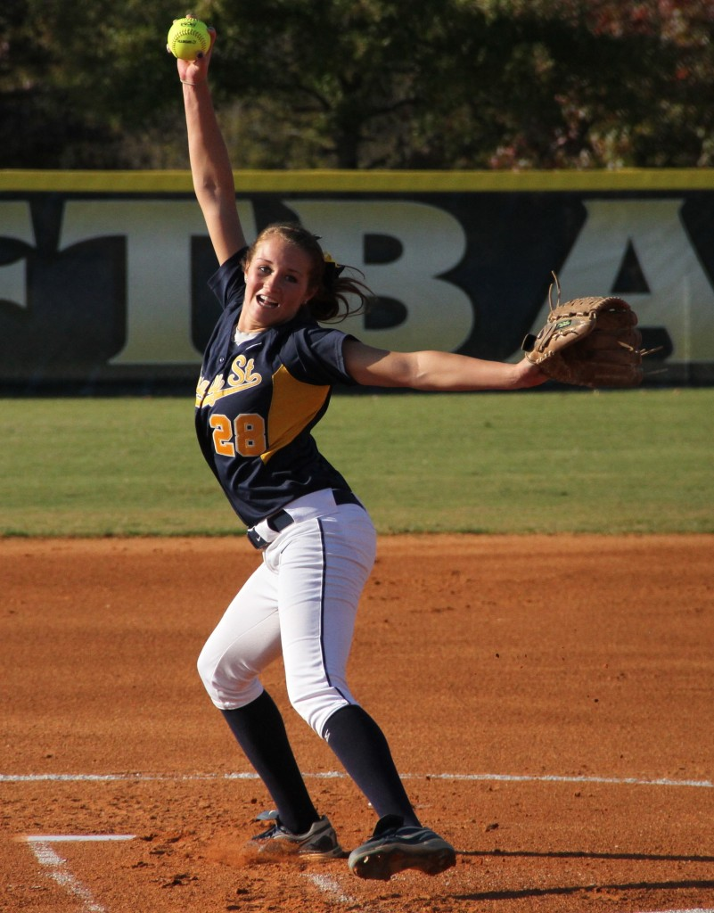 Senior Shelby Kosmecki winds up as she prepare to throw a pitch during a fall season game. || Photo courtesy of Sports Information