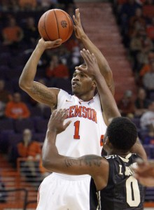 Transfer T.J. Sapps averaged 15.1 minutes and 3.6 points during the Clemson Tigers' first seven games. || Photo courtesy of Sefton Ipock/ Independent Mail