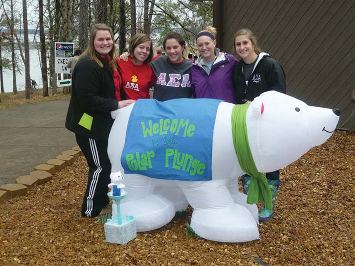 Members of Alpha Sigma Alpha pose at the 2012 Polar Bear Plunge. They are currently raising funds for the 2013 plunge.