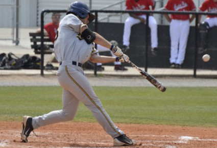 Junior Brandon Eggenschwiler prepares to hit the ball during a game against Austin Peay last season. || Photo courtesy of Sports Information