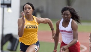 Senior Alexis Love sprints towards the finish line. Love set a new career best in the 400 meter dash.