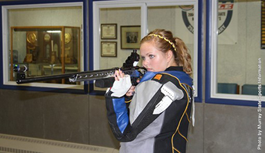 Freshman Tessa Howald  from Ozark, Mo., stares at the target as she prepares her shot. || Photo courtesy of Sports information.