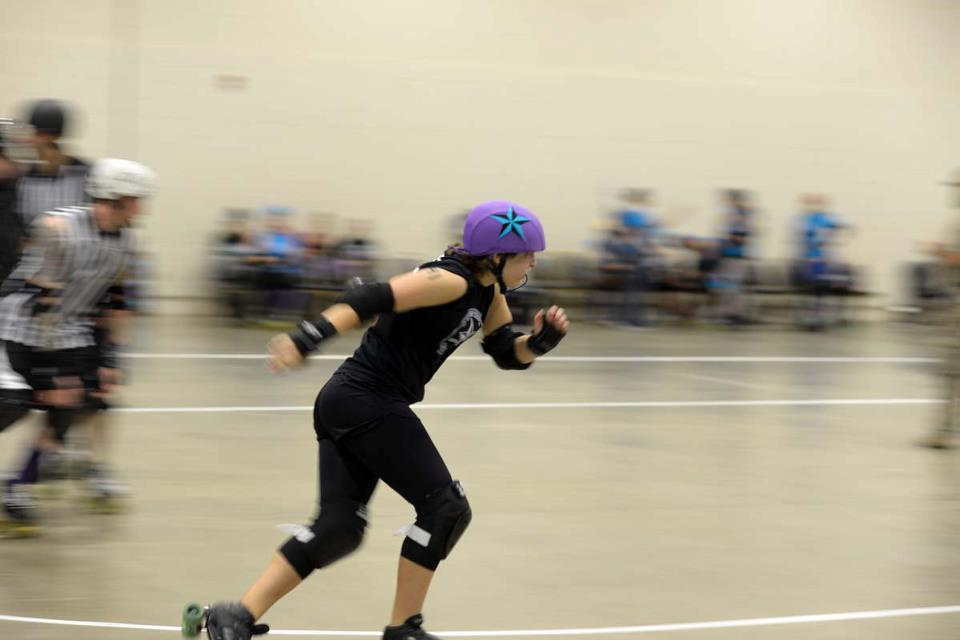 Kiaya Young, sophomore from Paducah, Ky., participates in The Western Kentucky Rockin' Rollers roller derby team. || Photo courtesy of Erich Budeshefsky