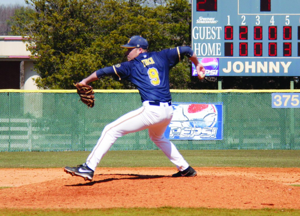 Junior Cameron Finch from Collierville, Tenn., threw a complete game with no hits recorded on March 22, in Edwardsville, Ill., against SIUE. The 'Breds would go on to win the game 1-0 and the series 2-1. || Lori Allen/The News