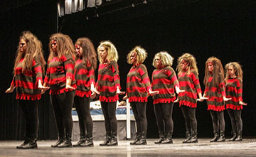 The sisters of Alpha Delta Pi perform their winning nightmare-themed step show on Thursday night in Lovett Auditorium. || Taylor McStoots/The News