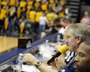 Paul Radke announces at his final home game Saturday. Radke has worked at Murray State since 1986 and will retire to Alabama at the end of the semester. || Lori Allen/The News