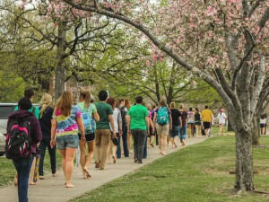 The mile-long walk stretched around campus starting at Elizabeth College Amphitheater, passing by Faculty Hall before ending at the steps of Lovett Auditorium.    Kate Russell