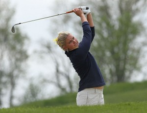 Senior Alexandra Lennartsson placed third individually at the OVC?tournament. She was also named to the All-Tournament team. Photo courtesy of Sports Information.