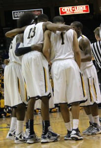 The Men's basketball team huddles during a break in the game against Southeast Missouri on March 2. Six seniors will graduate leaving big holes in the roster.    Taylor McStoots/The News
