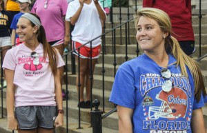 Members of Sigma Sigma Sigma, Devan McCoy, sophmore from Benton, Ky. and Allison Petterson, junior from Orlando Fla., rehearse of the steps of Pouge Library with their sorority sisters in preparation for All Campus Sing. || Taylor McStoots