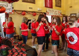 New members and active members of Alpha Sigma Alpha talk over snacks.    //  Photo by Lori Allen / The News