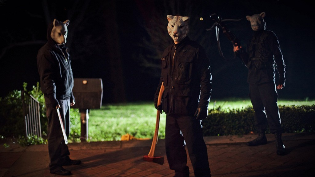 """drafthouse.com In the latest horror flick, """"You're Next,"""" murderers wearing animal masks attack a family who is coming together after being apart for a long time to celebrate their parents' anniversary."""