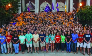 Taylor McStoots/The News Greek presidents line the front of Lovett Auditorium after the kick off of a new social campaign, with active and new members behind them.