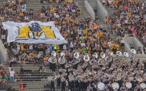 Racer band and Racer fans supporting their football team. Lori Allen / The News