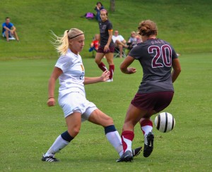 Torrey Perkins/The News Senior Rebecca Bjorkvall takes the ball away from a UALR opponent.
