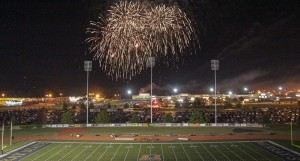 Family Weekend Fireworks - Fall 2013, following the 41-38 Murray State victory over Missouri State. Lori Allen / The News