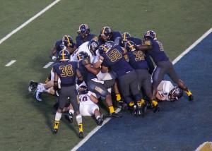 Massive defensive tackle near Missouri State's goal line. Lori Allen / The News