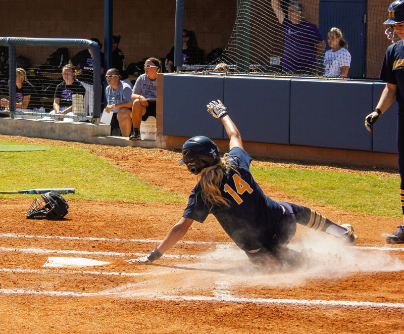 #14 Mo Ramsey, junior outfielder from Pinckneyville, Illinois, scores the very first run ever during the inaugural game at the new softball field. Murray State won both games of the double header on Sunday against St. Catharine 2-0 and 7-4. Taylor McStoots / The News