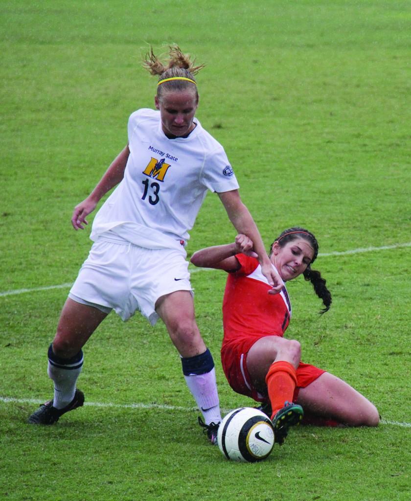 Lori Allen/The News Junior forward Pavlina Nepokojova fights for possession in a game against UT?Martin.