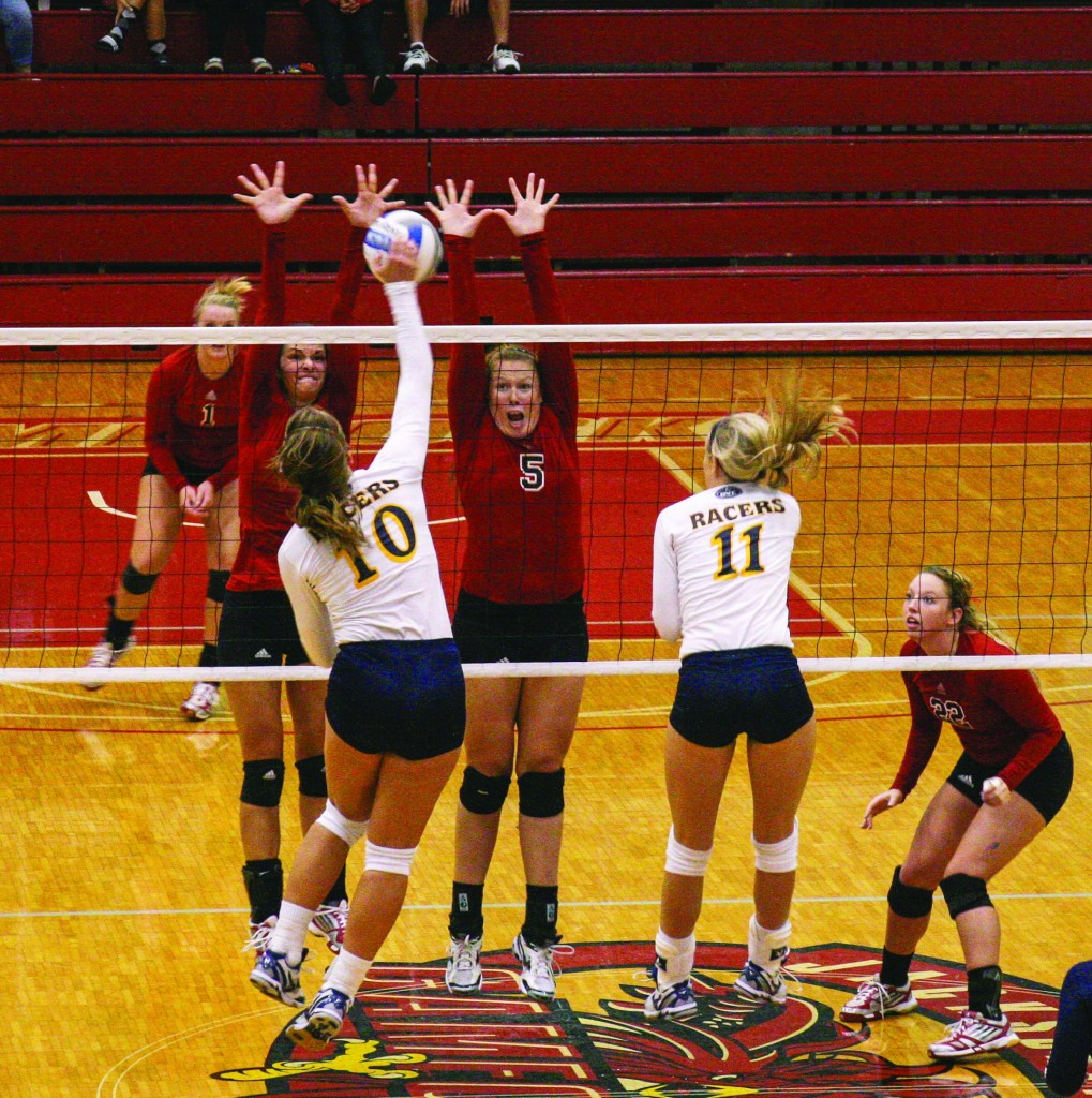 Ryan Richardson/The News Sophomore Emily Schmahl (10) attempts a kill in the Racers' loss to Jacksonville State Saturday.