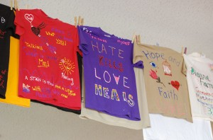 Emily Clark // The News / The Murray State Women's Center Clothesline Project  hangs in the Curris Center.