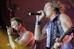 Brian Kelley and Tyler Hubbard of Florida Georgia Line perform at the CFSB Center Thursday night. More than 7,000 people were in attendance.  // Lori Allen, The News