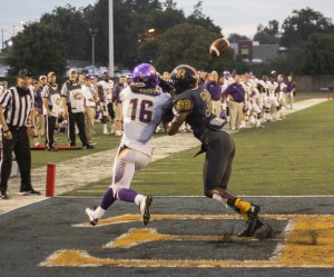 Lori Allen // The News  / Defensive Back Darrell Smith (No. 38), senior from Port St. Joe, Fla., prevents Tennessee Tech from scoring.