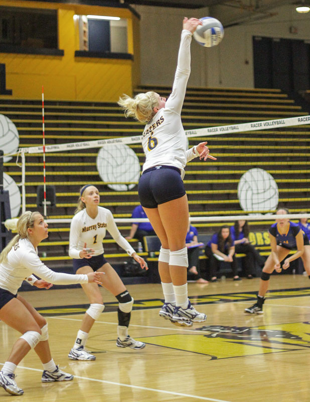 Lori Allen // The News / Sophomore Taylor Olden reaches for a spike against Morehead State last Saturday.