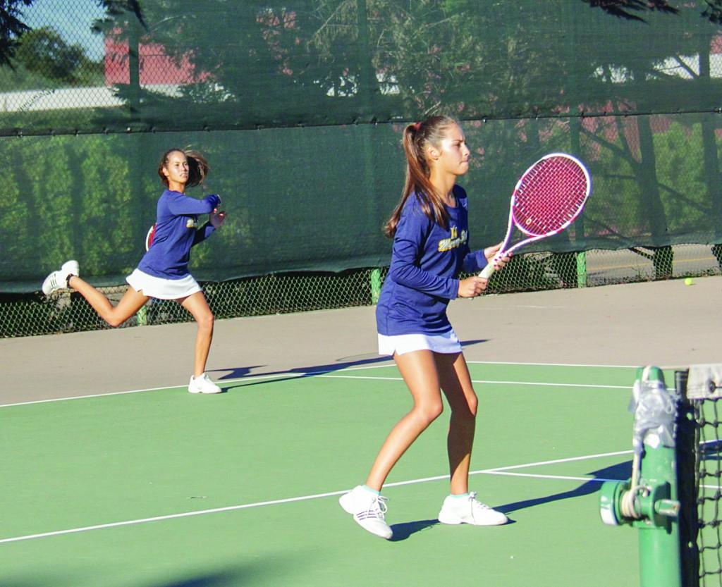 Lori Allen/The News Freshmen twins Eleonore and Verginie Tchakarova bring a unique flair to the women's tennis team.