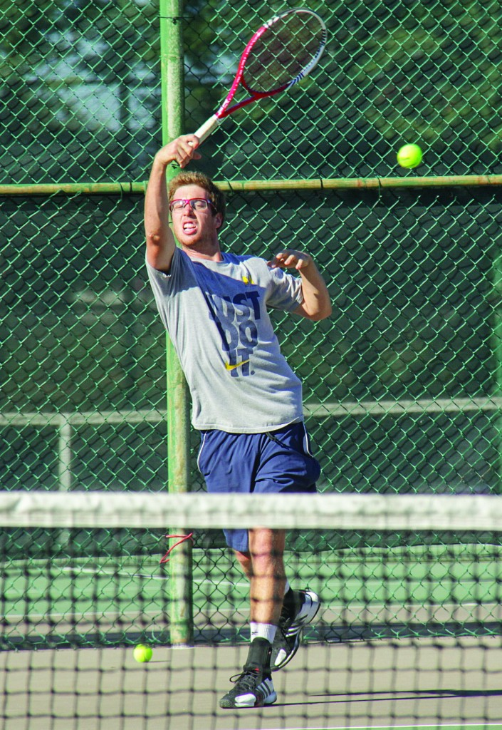 Lori Allen/The News Senior Adam Taylor picks up his first win and the only victory for the Racers in their latest tournament.