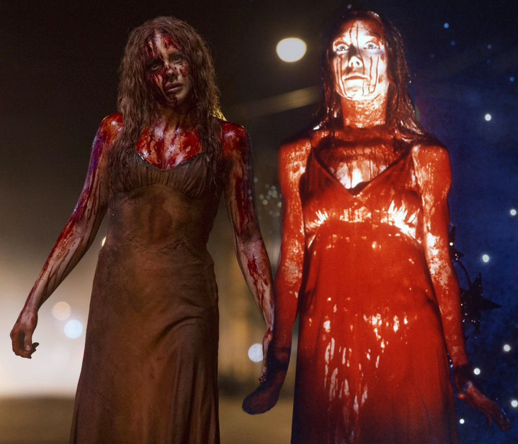 Graphic by Evan Watson/The News Chloe Grace Moretz (left) plays Carrie in the 2013 version of the movie, while Sissy Spacek (right) portrays Carrie in the 1976 version.