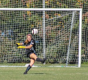 File photo Freshman goalkeeper Savannah Haberman readies to kick the ball back into play during a game this year.