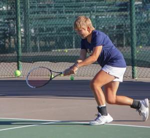 Lori Allen // The News / In their last tournament of the fall season, junior Andrea Eskauriatza won the title in No. 1 singles play.