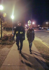 Jenny Rohl/The News Chris Gaylord, senior from Festus, Mo., escorts Chasity Bowyer, freshman from Louisville, Ky., through campus Wednesday night.