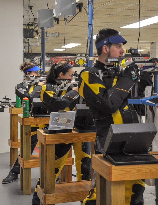 Ana Bundy // The News Murray State's #4 ranking rifle team practices air rifle in the Pat Spurgin Rifle Range. (L-R) Kelsey Emme, junior from Piedomont, S.D., Tessa Howald, sophomore from Ozark, Mo., Jack Berhorst, freshman from Lawson, Mo.