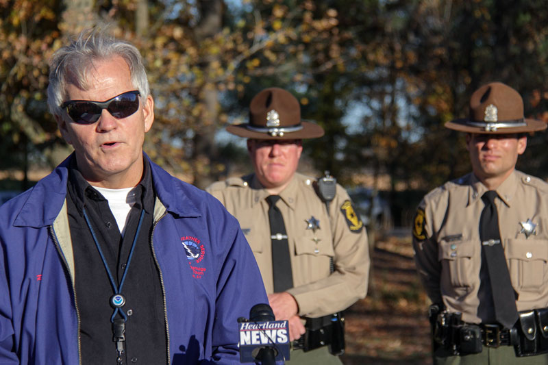 Lori Allen // The News /// Rick Shanklin, a National Weather Service representative, speaks at a press conference Monday, an- nouncing the tornado was an EF-3 with winds up to 145 mph.