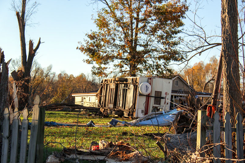 Lori Allen // The News  /// Sunday's tornado hit Brookport, Ill., tipping over mobile homes and vehicles on Ohio Street, a main road through the town.