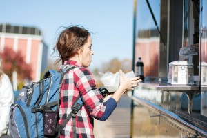 Photo by Meredith Riley Kacie King, senior from Paducah, Ky., eats from the food truck on a weekly basis.