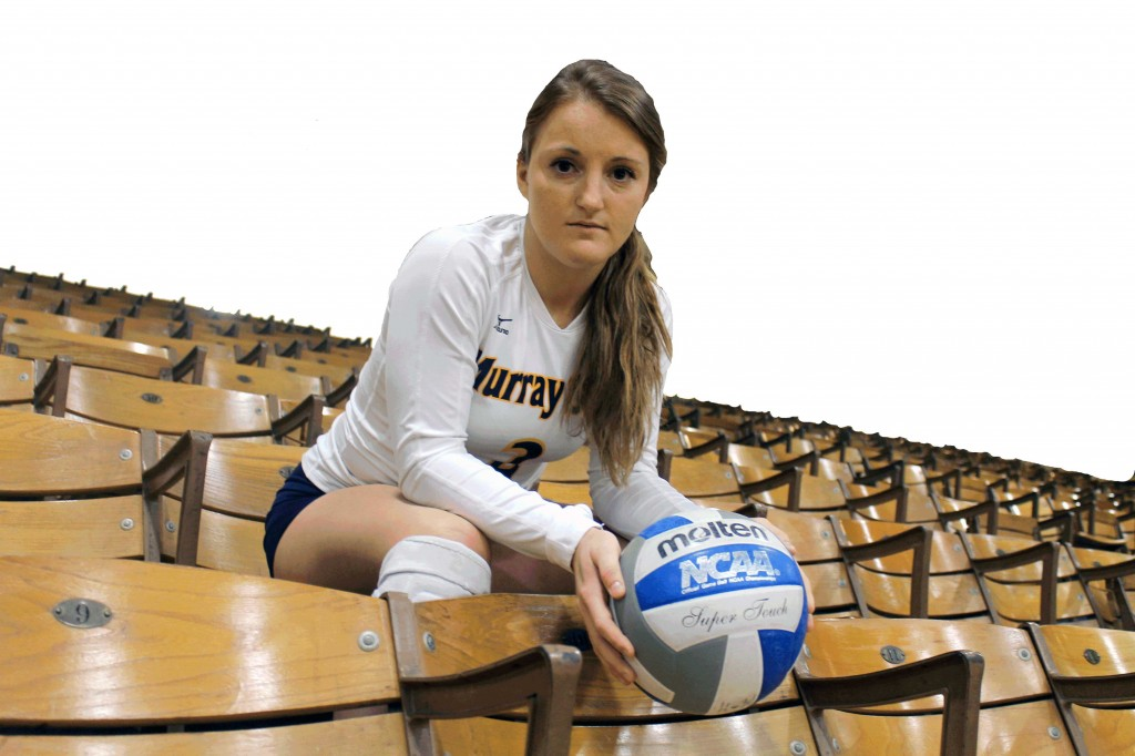 Photo by Jenny Rohl, illustration by Ryan Richardson/The News Murray State libero and only senior, Katlyn Hudson, helped lead her team to its first winning season since 2008.